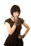 Retro woman with black hair Royalty Free Stock Photos
