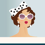 Retro Woman. With bow,sunglasses and earrings - copyspace banner below Stock Images