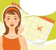 Retro woman with calendar Royalty Free Stock Photo