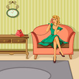 Retro woman chatting on phone Royalty Free Stock Photo