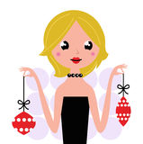 Retro woman with christmas balls Royalty Free Stock Photo