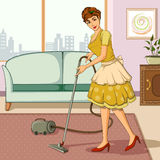 Retro woman cleaning home with vaccum cleaner Stock Image