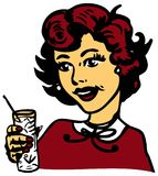 Retro Woman With Cocktail royalty free illustration