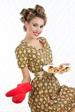 Retro Woman with Cookies Royalty Free Stock Photo