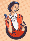 Retro woman with credit card vector pic Stock Photo