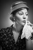 Retro Woman Dabbing Her Mouth With Handkerchief Royalty Free Stock Photos