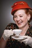 Retro Woman Drinking Her Tea Royalty Free Stock Photos