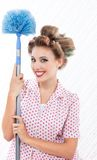 Retro Woman with Duster stock image