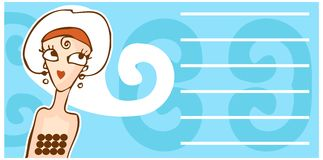 Retro woman face cartoon banner Stock Photo