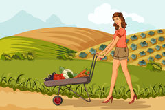 Retro woman with farm fresh vegetable Stock Images