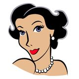 Retro Woman Fashion Clip Art. A clip art illustration of the head of a woman with dark hair, blue eyes and red lipstick in classic retro or vintage style with Stock Photography