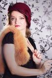 Retro woman in hat Stock Photo