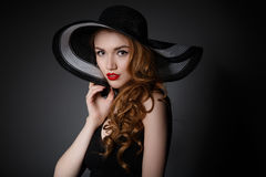 Retro woman in hat vintage fashion portrait. Royalty Free Stock Photos