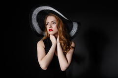 Retro woman in hat vintage fashion portrait. Royalty Free Stock Image