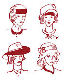 Retro woman in hats hand drawn design Royalty Free Stock Photography