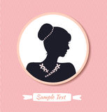 Retro woman head silhouette in round frame. Vector  woman half face. Vintage lady portrait Royalty Free Stock Images