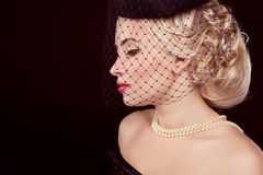 Retro woman. Jewelry and Beauty. Fashion Royalty Free Stock Photography
