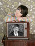 Retro woman in love with tv nerd hero. Retro woman in love with tv nerd mustache hero vintage 60s wallpaper Stock Image