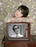 Retro woman in love with tv nerd hero. Vintage 60s wallpaper Stock Photos