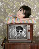 Retro woman in love with tv nerd hero. Retro woman in love with tv nerd mustache hero vintage 60s wallpaper Royalty Free Stock Photo