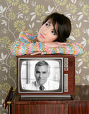 Retro woman in love with tv senior handsome hero Stock Photos