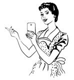 Retro woman makes photo on her phone Stock Image
