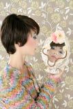 Retro woman mirror fashion portrait tacky Stock Image