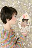 Retro woman mirror fashion portrait tacky. Vintage wallpaper Stock Image