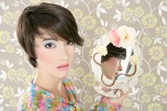 Retro woman mirror fashion portrait tacky Royalty Free Stock Image