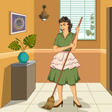 Retro woman mopping house. Concept of retro woman mopping the floor of house. Vector illustration Stock Images