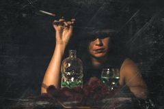 Retro woman with mouthpiece cigarette and alcohol. retro style i. Mage with artifacts royalty free stock images