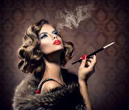 Retro Woman with Mouthpiece Royalty Free Stock Image