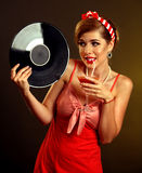 Retro woman music vinyl record. Girl drink bloody mary cocktail. Stock Images
