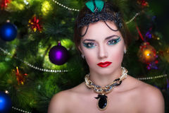 Retro woman new year. Young beautiful brunette woman lady model woman actress. bright stylish look. Chic impressive appearance. Perfect face professional makeup Royalty Free Stock Image