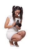 Retro woman with an old camera Royalty Free Stock Photo