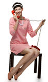 Retro woman in pink dress 60s Royalty Free Stock Photo