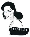 Retro woman pop art face Portrait Royalty Free Stock Images