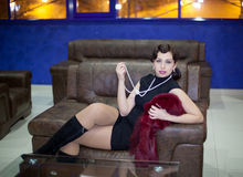 Retro Woman portrait Stock Photo