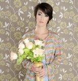 Retro woman portrait 60s fashion vintage. Flowers vase wallpaper stock images