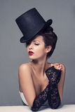 Retro Woman Portrait Cabaret hat Royalty Free Stock Photography