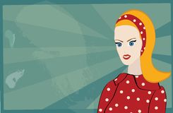 Retro woman. Portrait with Dress on Polka Dots and Grunge Background Royalty Free Stock Image