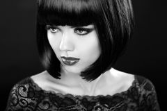 Retro woman portrait. Fashion model girl face. Bob hairstyle. Bl Royalty Free Stock Image
