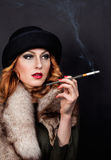 Retro Woman Portrait. Smoking Lady Stock Image