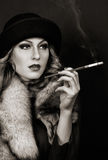 Retro Woman Portrait. Smoking Lady Stock Photos