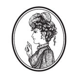 Retro woman portrait. Vector illustration of vintage engraved woman portrait in hat with feathers and dress in round frame - person pointing with index finger Stock Photography