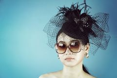 Retro Woman Portrait. Vintage Style Girl Wearing Old fashioned Hat. Retro Woman Portrait. Vintage Style Girl Wearing Old fashioned Hat, Beautiful black hat with Royalty Free Stock Images