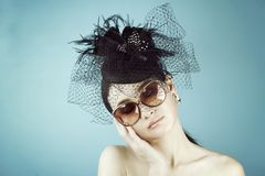 Retro Woman Portrait. Vintage Style Girl Wearing Old fashioned Hat. Retro Woman Portrait. Vintage Style Girl Wearing Old fashioned Hat, Beautiful black hat with Stock Photos