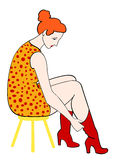 Retro woman put boots. Vector illustration Royalty Free Stock Photos