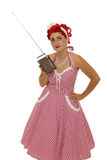 Retro woman with radio royalty free stock photo