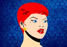 Retro woman. With a red hair Stock Photo